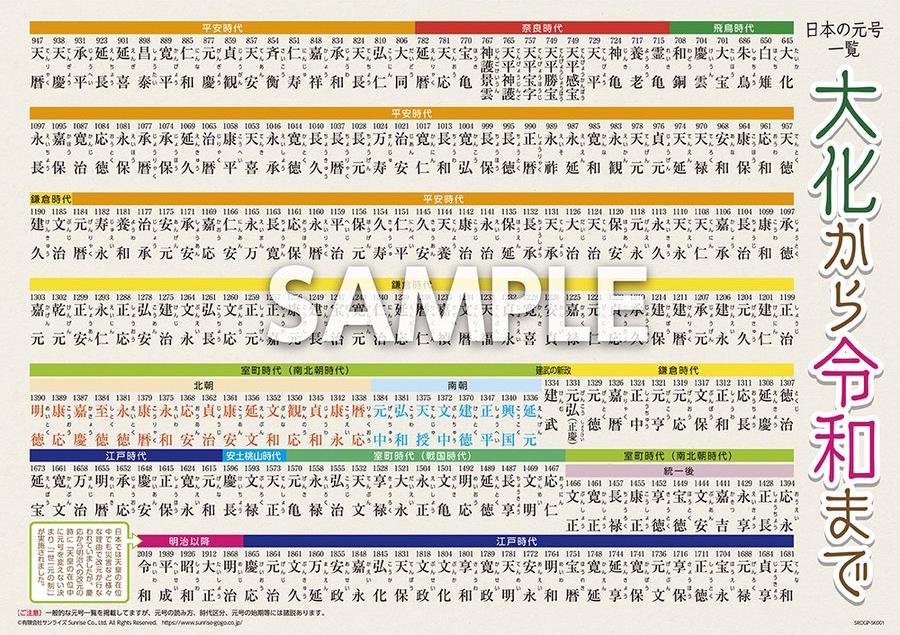 学習ステッカー「令和 (れいわ) 対応 日本の元号一覧」